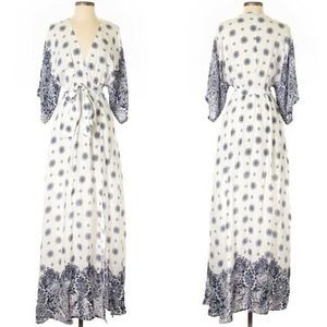 Aakaa Kimono Maxi Dress Size S White Boho Empire